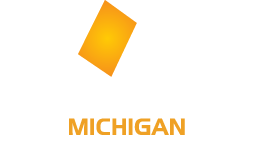 Michigan Open Book Project Logo, a book with Michigan in it rising out of a tablet